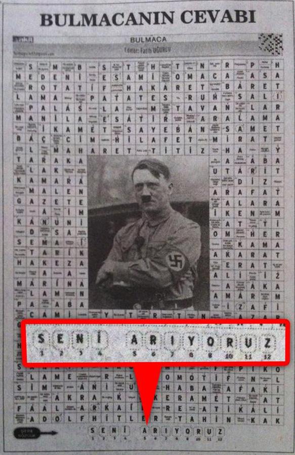 Yeni Akit  Gazetesi bulmaca Adolf Hitler