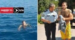 Hırsızlık şüphelisi yüzerek kaçacaktı!
