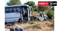 Servis otobüsü ile otomobil çarpıştı! 3 ölü, 11 yaralı