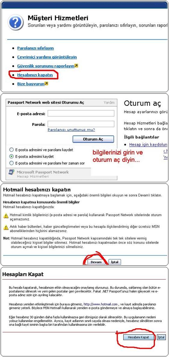 MSN – hotmail hesabı kapatma, silme
